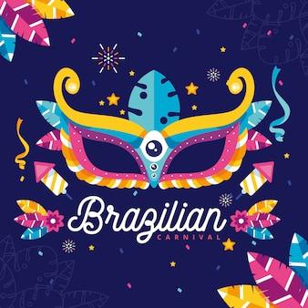 Platte ontwerp met braziliaanse carnaval elementen