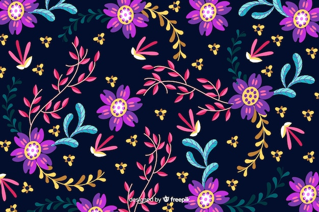 Platte ontwerp met florale achtergrond