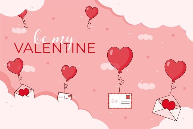 Platte ontwerp met valentijnsdag behang