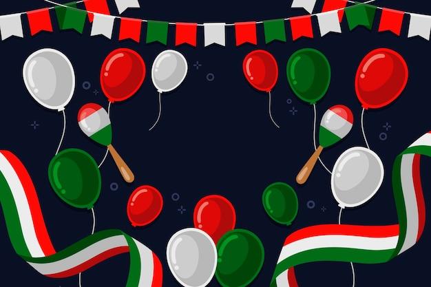 Platte ontwerp mexicaanse onafhankelijkheidsdag achtergrond