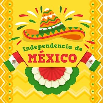 Platte ontwerp mexicaanse onafhankelijkheidsdag concept