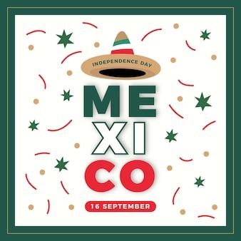 Platte ontwerp mexico onafhankelijkheidsdag concept