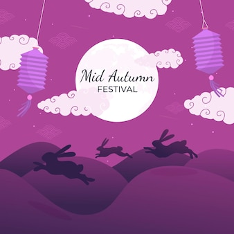 Platte ontwerp mid-autumn festival met konijntjes bij zonsondergang