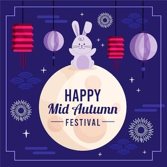 Platte ontwerp midden herfst festival achtergrond