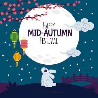 Platte ontwerp midden herfst festival