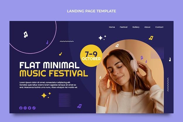 Platte ontwerp minimal music festival bestemmingspagina