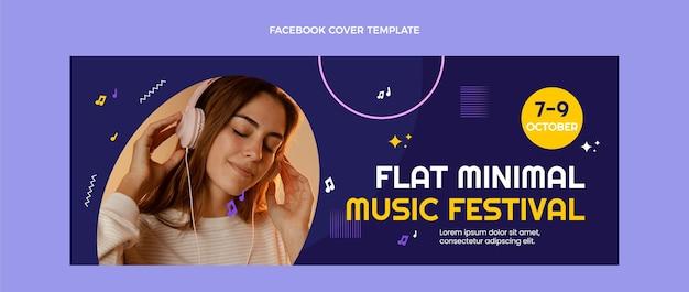 Platte ontwerp minimal music festival facebook cover