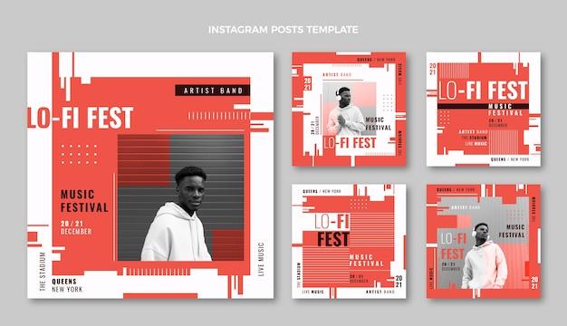 Platte ontwerp minimal music festival instagram posts