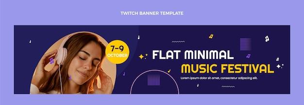 Platte ontwerp minimal music festival twitch banner