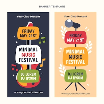 Platte ontwerp minimal music festival verticale banners