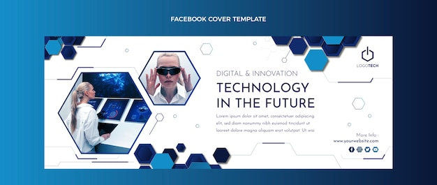 Platte ontwerp minimale technologie facebook cover