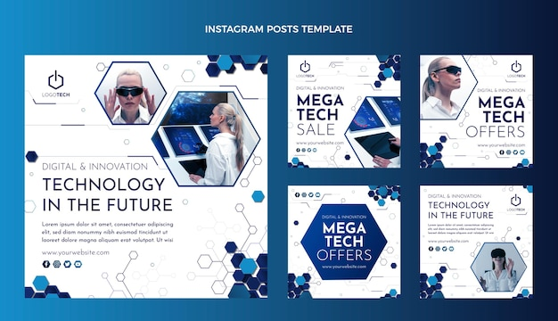 Platte ontwerp minimale technologie instagram post