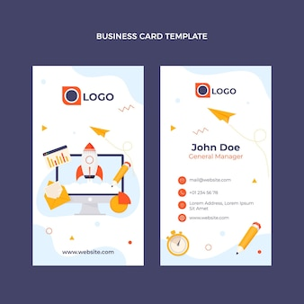Platte ontwerp minimale technologie visitekaartje verticaal