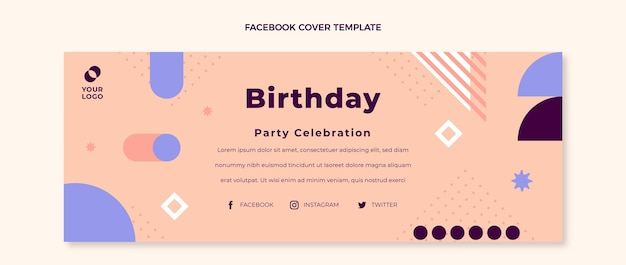 Platte ontwerp minimale verjaardag facebook-omslag