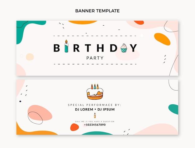Platte ontwerp minimale verjaardag horizontale banners