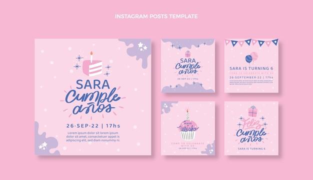Platte ontwerp minimale verjaardag instagram posts