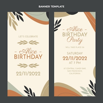 Platte ontwerp minimale verjaardag verticale banners