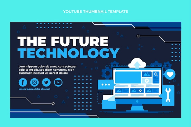 Platte ontwerp minimalistische technologie youtube thumbnail