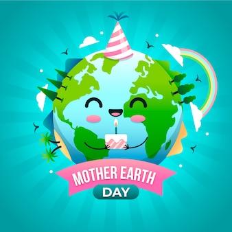 Platte ontwerp moeder aarde dag achtergrond