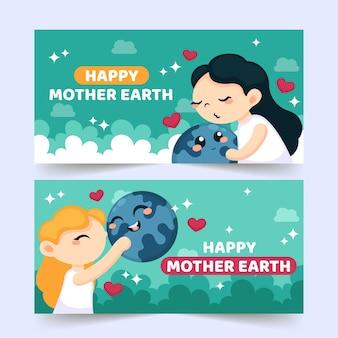 Platte ontwerp moeder aarde dag banner pack