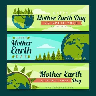 Platte ontwerp moeder aarde dag banner set