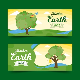 Platte ontwerp moeder aarde dag banner