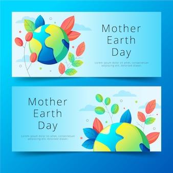 Platte ontwerp moeder aarde dag banners concept