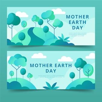 Platte ontwerp moeder aarde dag banners thema