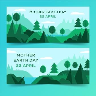 Platte ontwerp moeder aarde dag banners