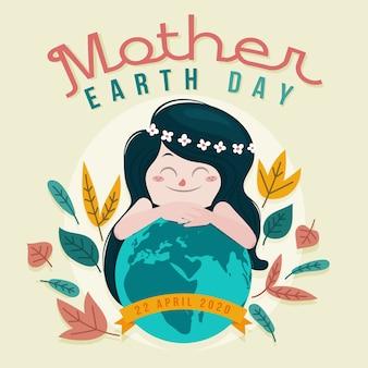Platte ontwerp moeder aarde dag behang