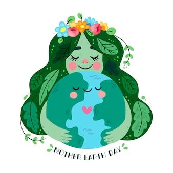 Platte ontwerp moeder aarde dag concept