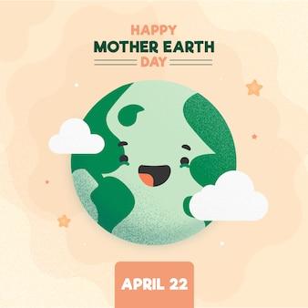 Platte ontwerp moeder aarde dag evenement ontwerp