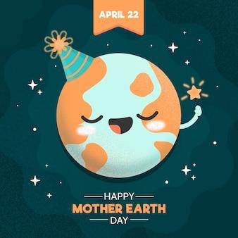 Platte ontwerp moeder aarde dag evenement stijl