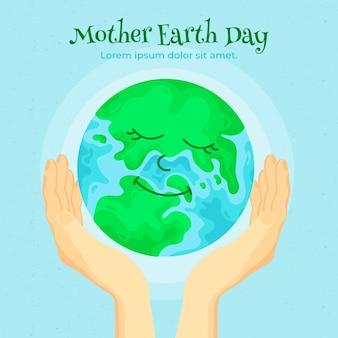 Platte ontwerp moeder aarde dag evenement