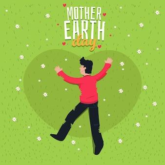 Platte ontwerp moeder aarde dag met man op het gras