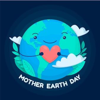 Platte ontwerp moeder aarde dag
