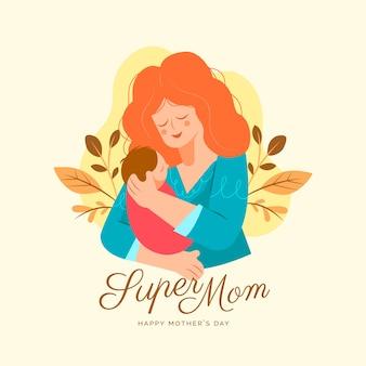 Platte ontwerp moederdag concept