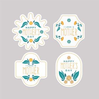 Platte ontwerp moederdag etiketten instellen