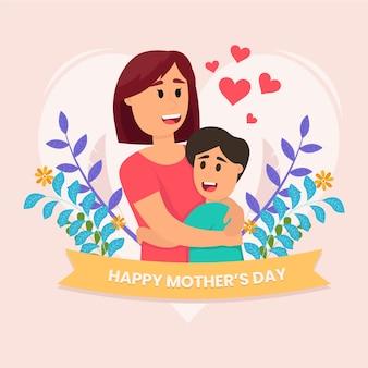 Platte ontwerp moederdag geïllustreerd