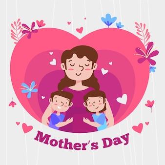Platte ontwerp moederdag illustratie