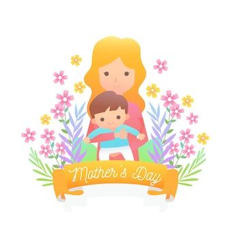 Platte ontwerp moederdag thema