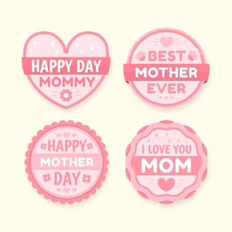Platte ontwerp moeders dag badge collectie