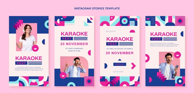 Platte ontwerp mozaïek muziekfestival instagram verhalen