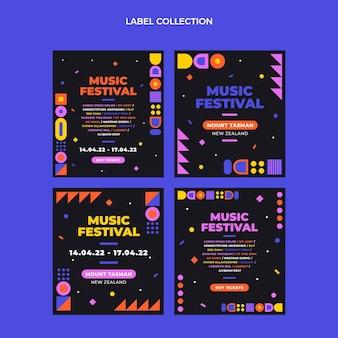 Platte ontwerp mozaïek muziekfestival labels