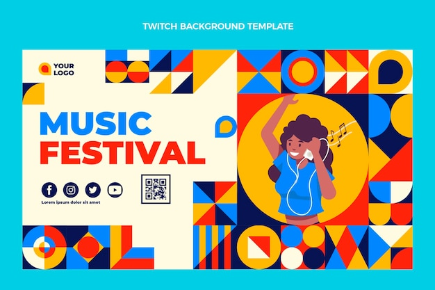 Platte ontwerp mozaïek muziekfestival twitch achtergrond