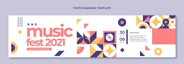 Platte ontwerp mozaïek muziekfestival twitch banner