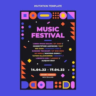 Platte ontwerp mozaïek muziekfestival uitnodiging