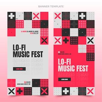 Platte ontwerp mozaïek muziekfestival verticale banners
