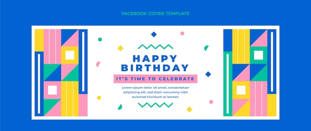 Platte ontwerp mozaïek verjaardag facebook cover