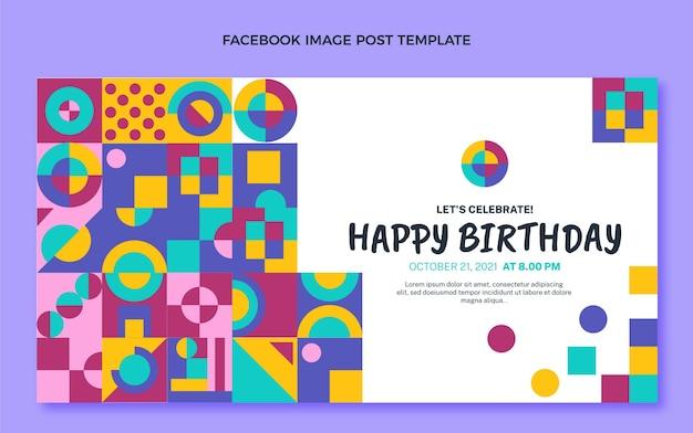 Platte ontwerp mozaïek verjaardag facebook post